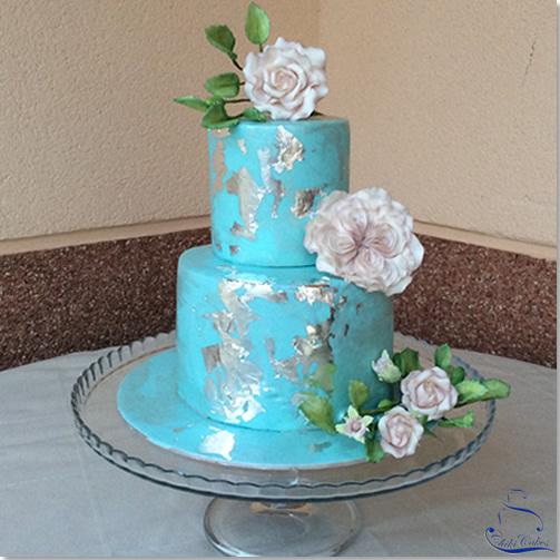 Tarta Azul Plata con Rosas